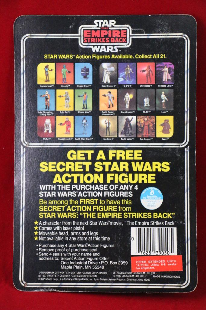 ESB Kenner Star Wars Walrus Man 21 Back A Bossk Sticker Back